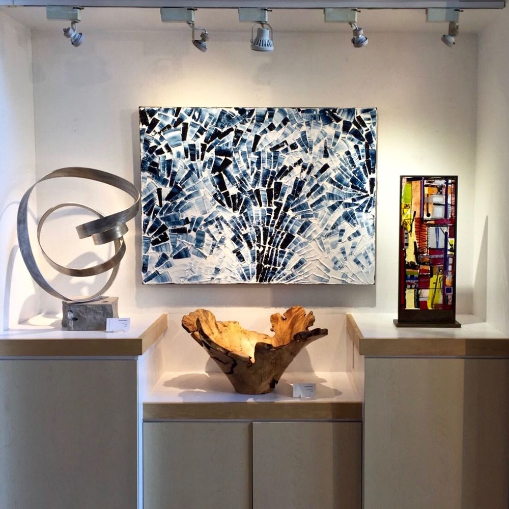 Oil painting 'Blanc de Bleu' by artist Louis-Bernard St-Jean, on display at Petroff Gallery