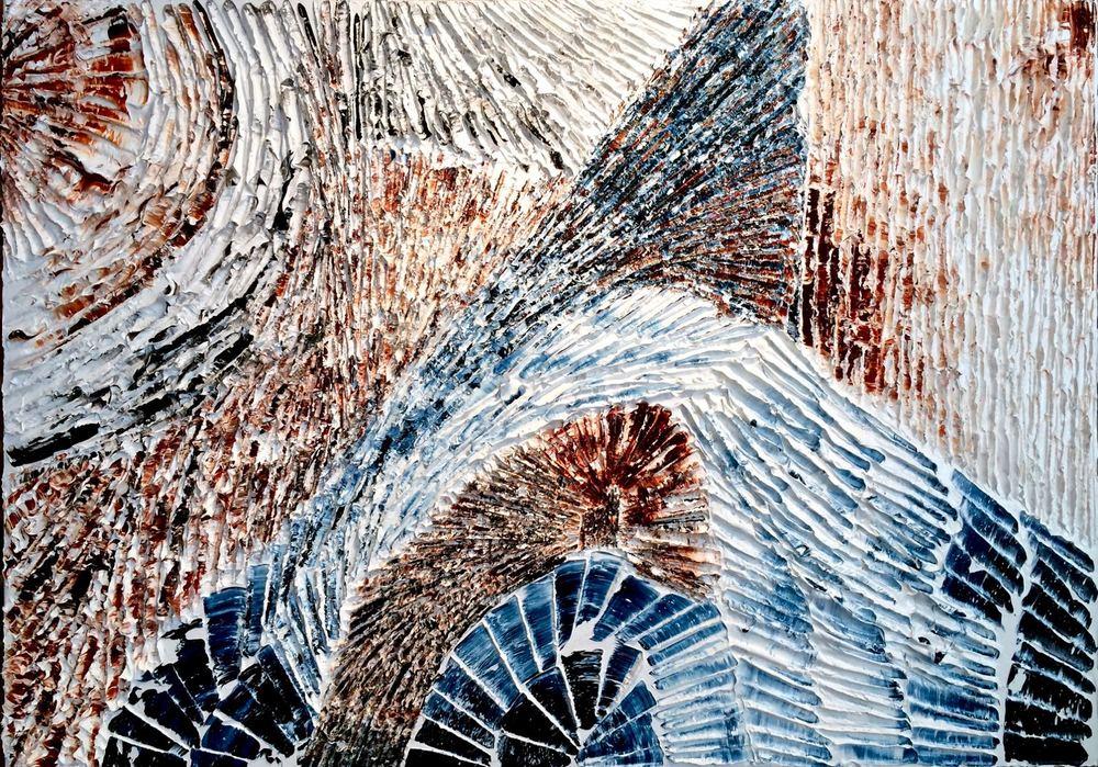Je voudrais voir la mer - heavy textured sculptural oil painting by artist Louis-Bernard St-Jean