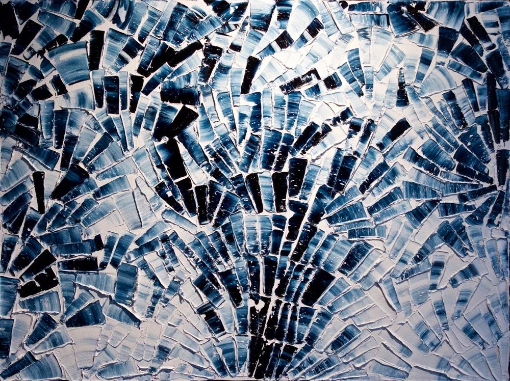 Blanc de Bleu - heavy textured sculptural oil painting by artist Louis-Bernard St-Jean