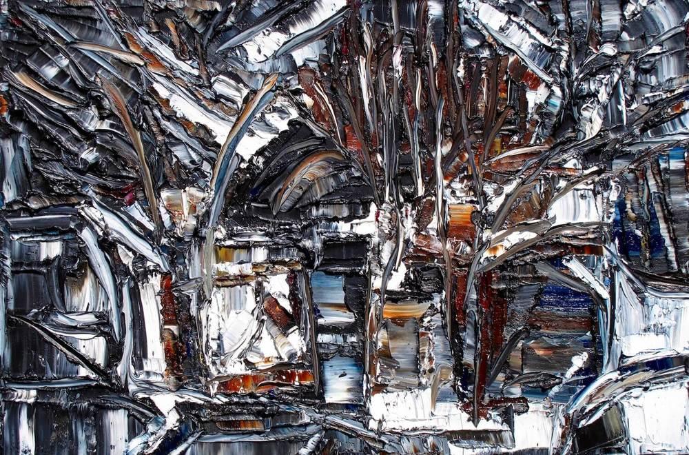 Le temps des sucres - heavy textured sculptural oil painting by artist Louis-Bernard St-Jean