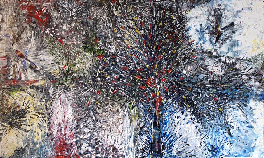 Canchanchara - heavy textured sculptural oil painting by artist Louis-Bernard St-Jean
