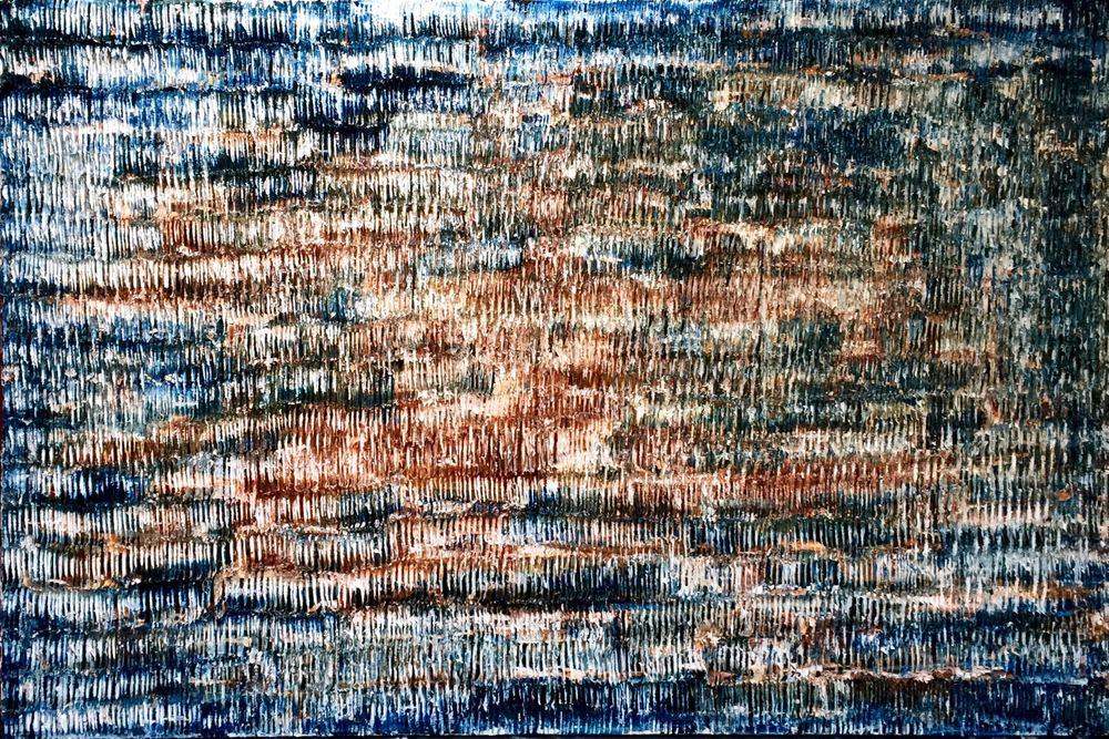 Sandbanks - heavy textured sculptural oil painting by artist Louis-Bernard St-Jean
