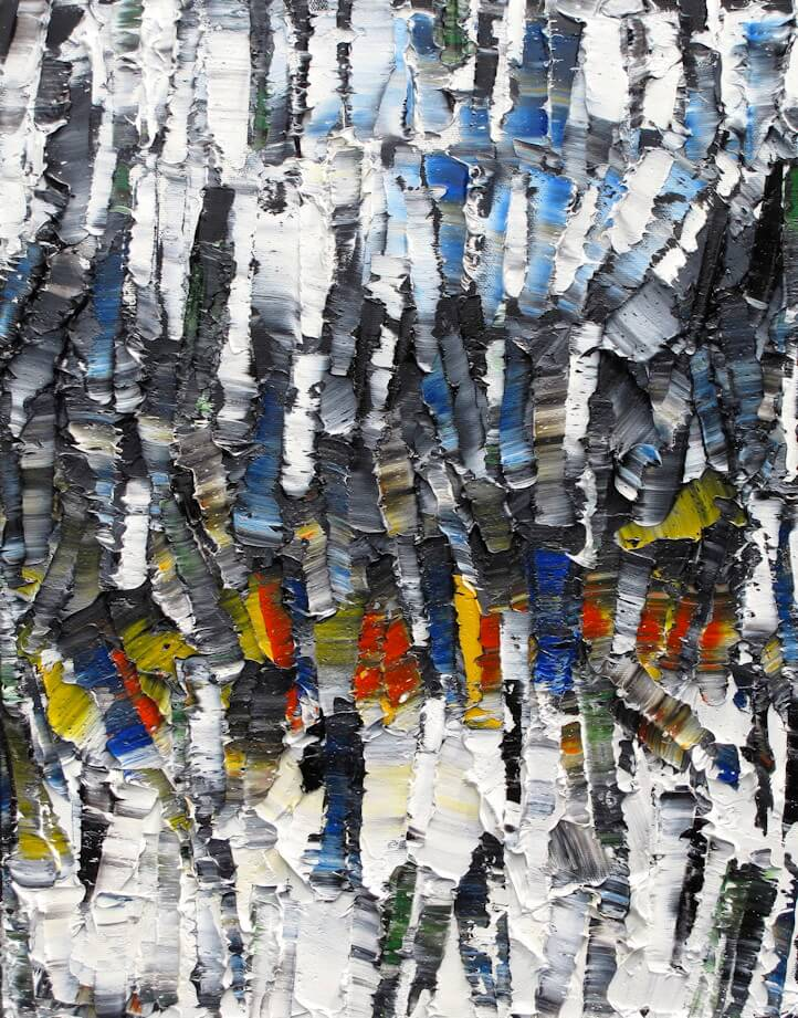 Promenons-nous dans les bois - heavy textured sculptural oil painting by artist Louis-Bernard St-Jean