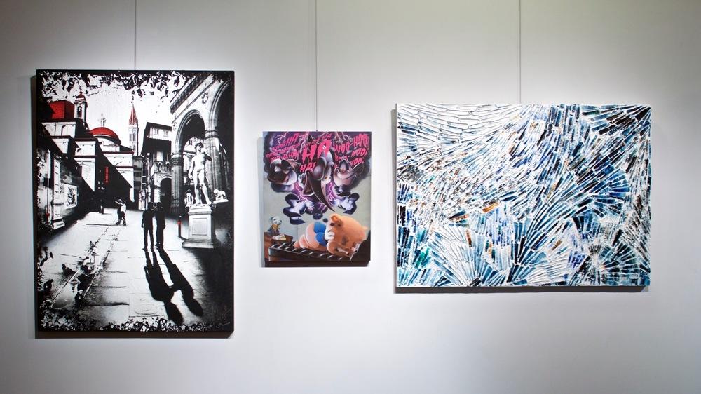 Les œuvres des trois artistes émergents montréalais Denise Buisman Pilger, Jono Doiron et Louis-Bernard St-Jean