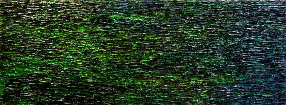 """Taïga.2016, oil on canvas,36""""x 96""""x 3"""" (91 x 244 x 8 cm)"""