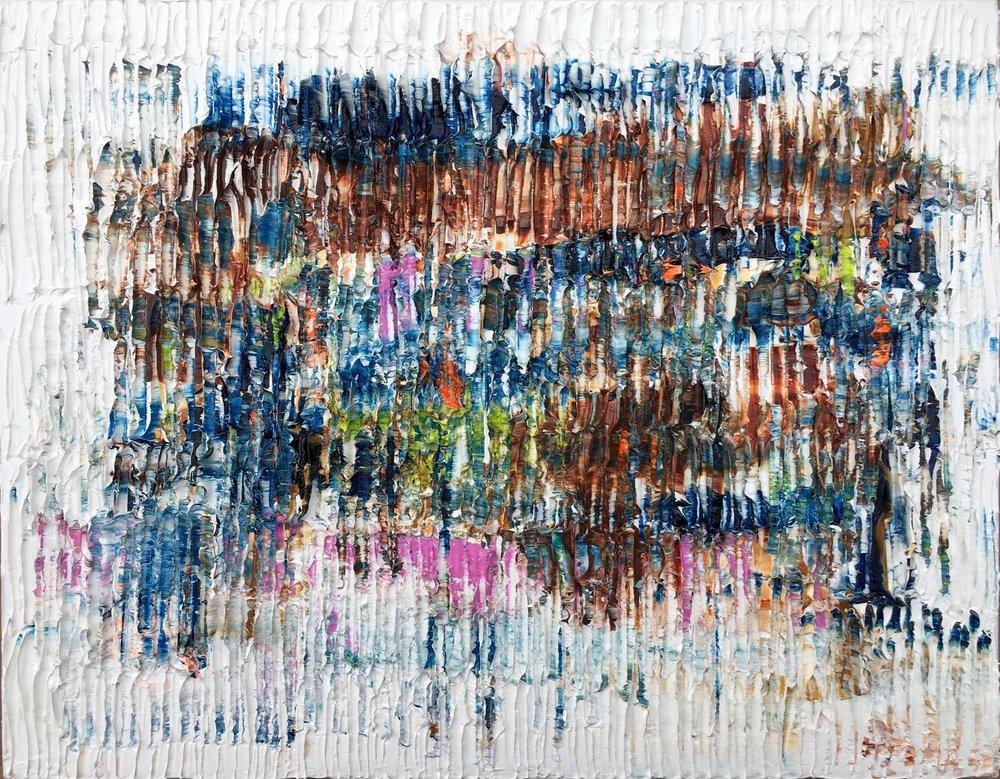 """Le Printemps  -2016, huile de noix de Grenoble sur toile de lin, 14"""" x 18"""""""
