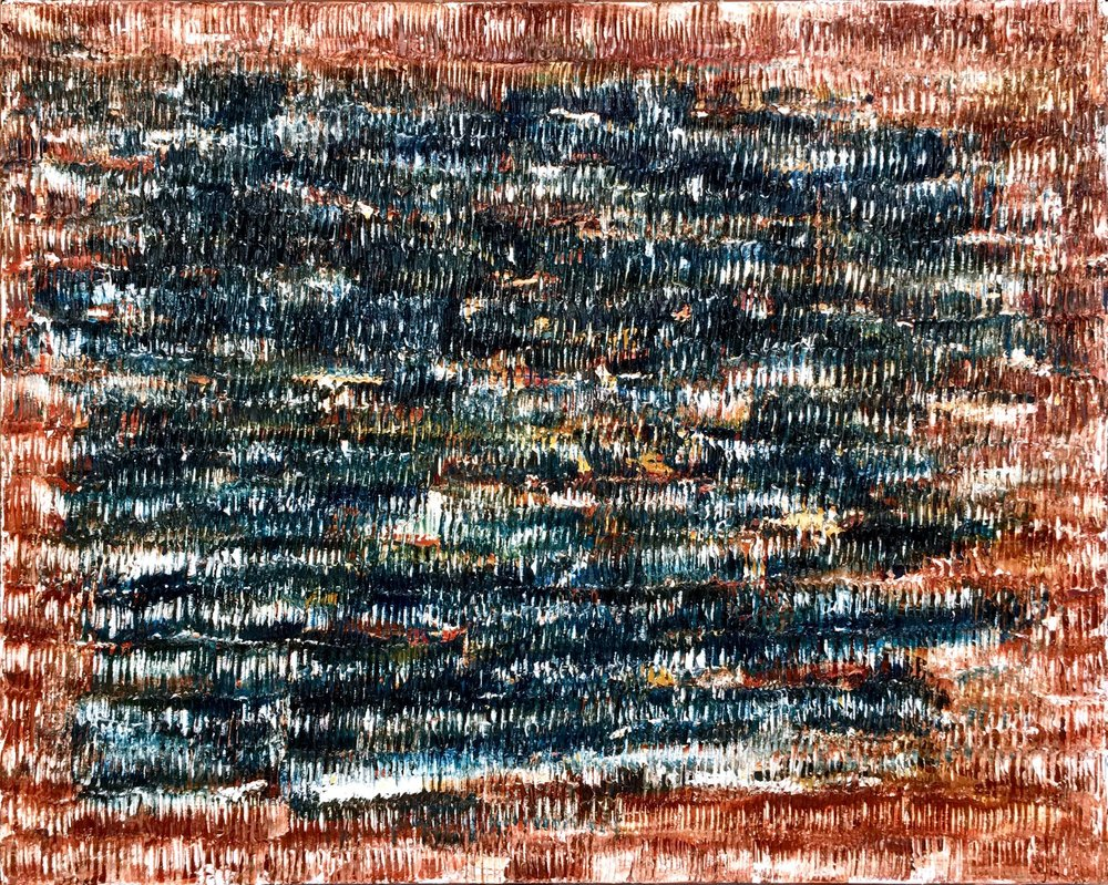 Burning Down The House - heavy textured sculptural oil painting by artist Louis-Bernard St-Jean