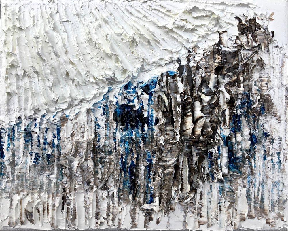 La fonte des glaciers - heavy textured sculptural oil painting by artist Louis-Bernard St-Jean