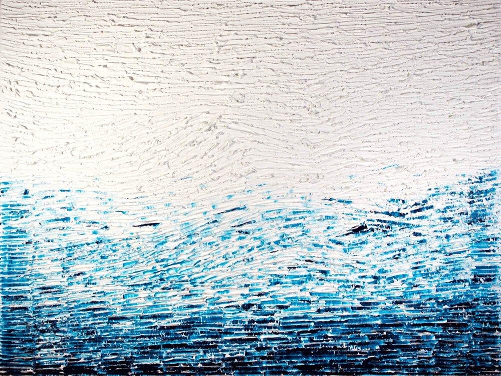 La Mer - heavy textured sculptural oil painting by artist Louis-Bernard St-Jean