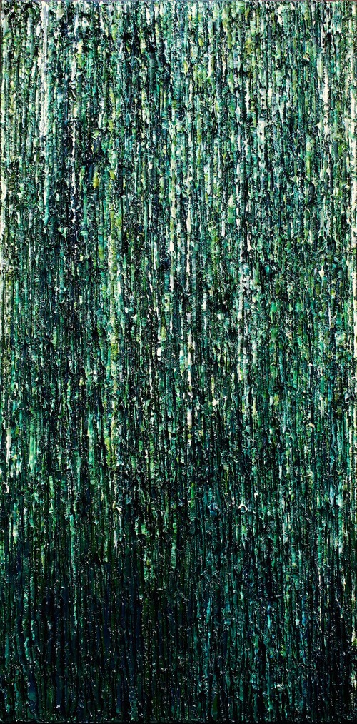 Foret Tropicale, Coba - heavy textured sculptural oil painting by artist Louis-Bernard St-Jean