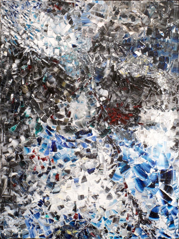 Les Perdrix - heavy textured sculptural oil painting by artist Louis-Bernard St-Jean