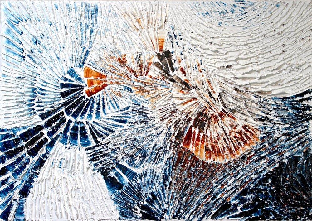"""'Fire and Ice' - Louis-Bernard St-Jean, 2016, Walnut oil on linen, 34"""" x 48"""""""
