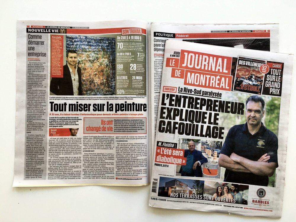 Tout miser sur la peinture |Le Journal de Montréal, Jeudi 8 juin 2017, p. 14 (à gauche)