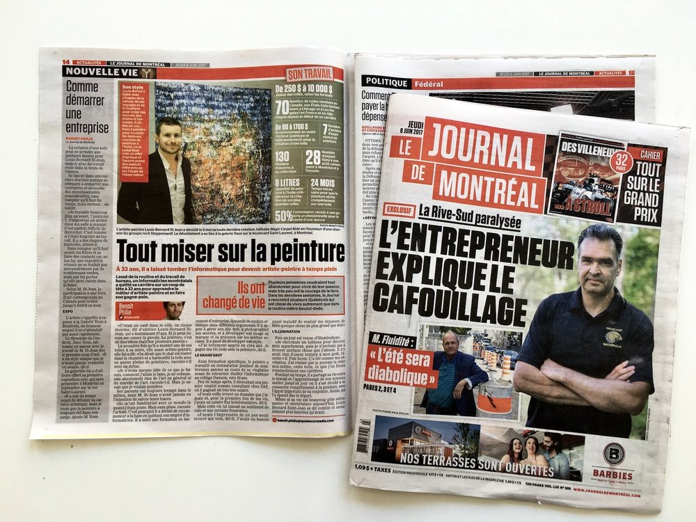 On page 14 of the Journal de Montréal (and page 16 of the Journal de Québec)