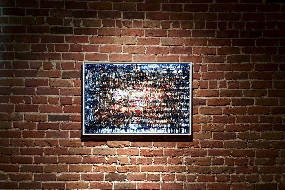 "Et la Lumière fut – 2017, Walnut oil on linen, 24"" x 36"" (framed)"