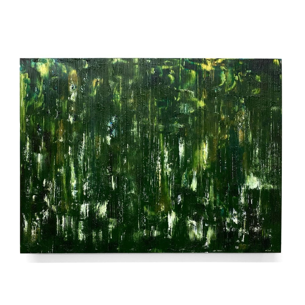 "Summer Greens   Huile sur panneau d'aluminium, 12"" x 16"""