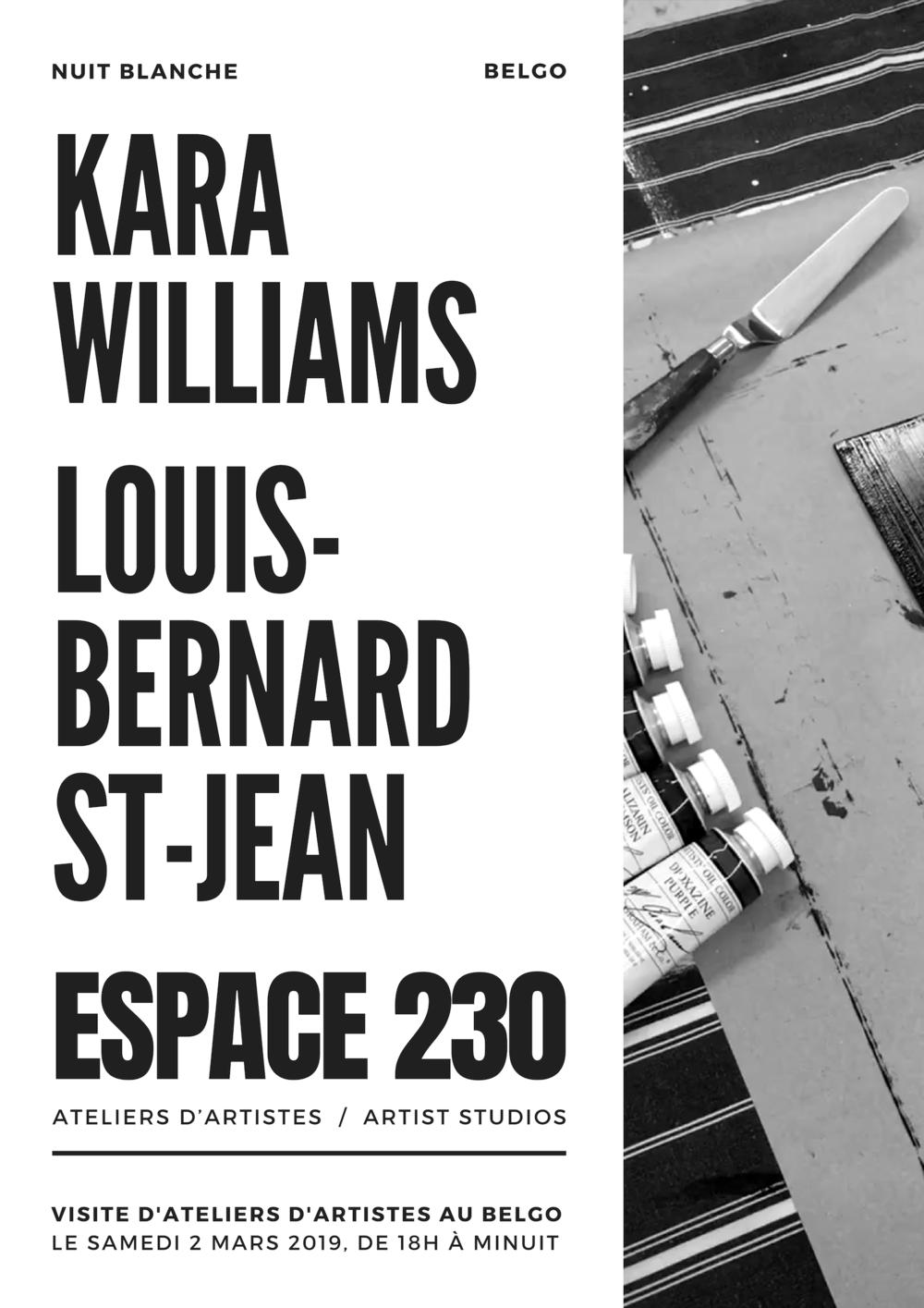 Visite d'ateliers d'artistes au Belgo, espace 230 | Samedi 2 mars 2019 de 18h à minuit