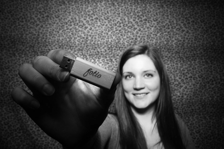 Heather McMullen posing with a Fotio USB drive!