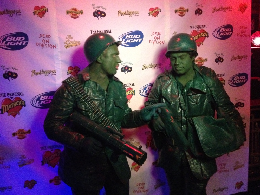 Green army guys Halloween costumes.