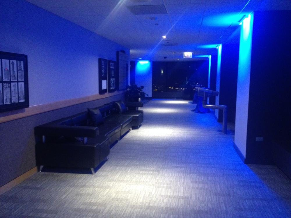 Blue mood lighting Skydeck.