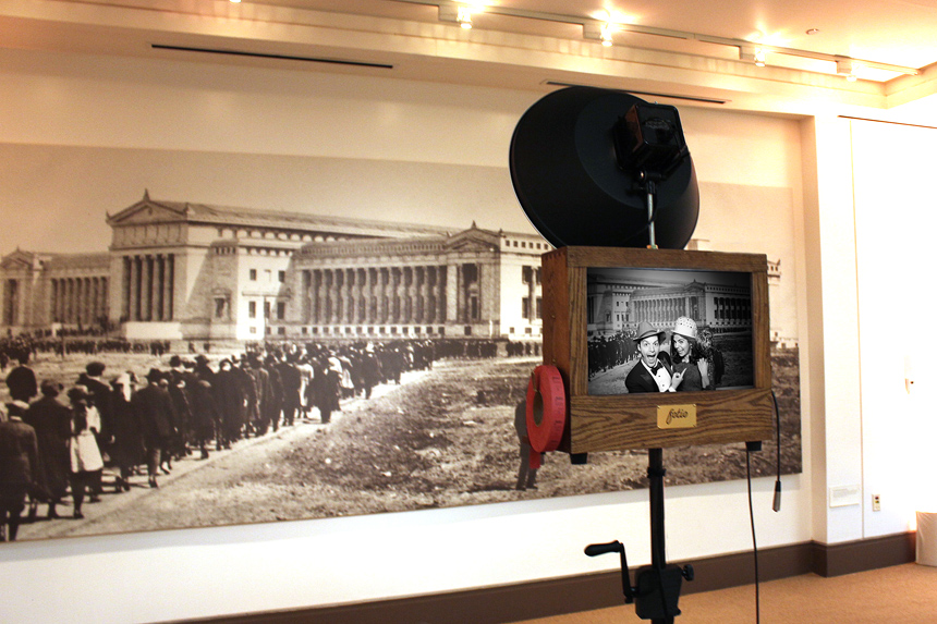 A Fotio photo booth setup in the East Atrium of the Field Museum.