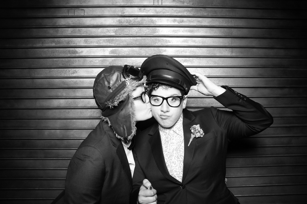 Kat and Lizzy on their wedding day! Photo booth pictures taken at Morgan Manufacturing located in Chicago's Fulton Market.