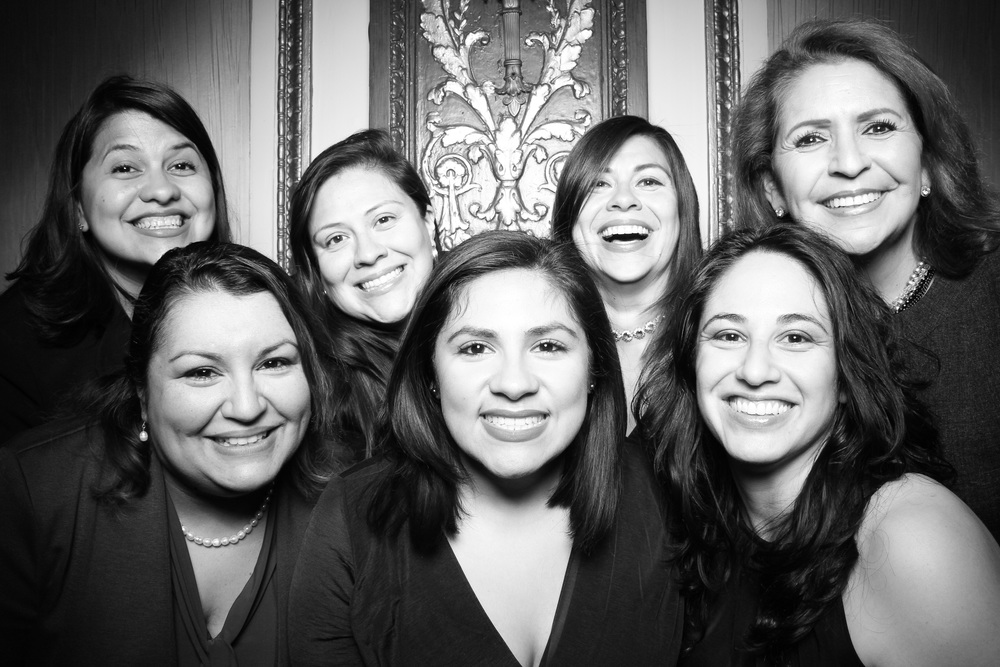 Guests posing in the photo booth at the Palmer House Hilton in downtown Chicago.
