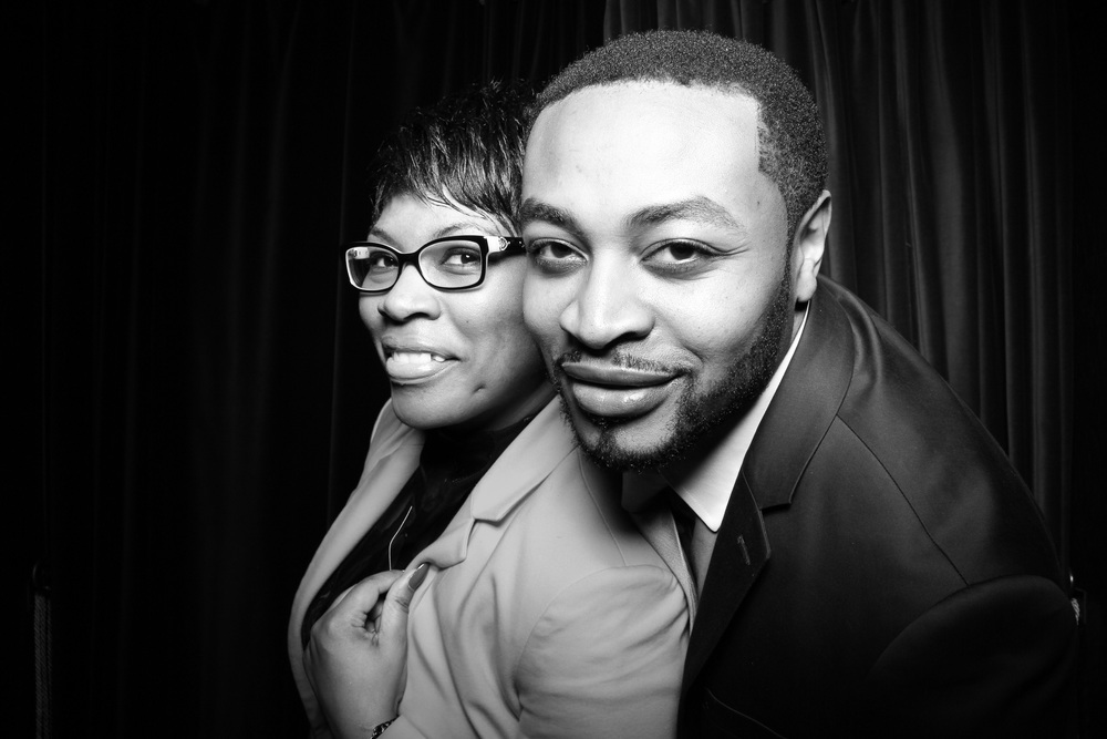 Event guests take a photo booth portrait with Fotio at Carnivale Chicago!