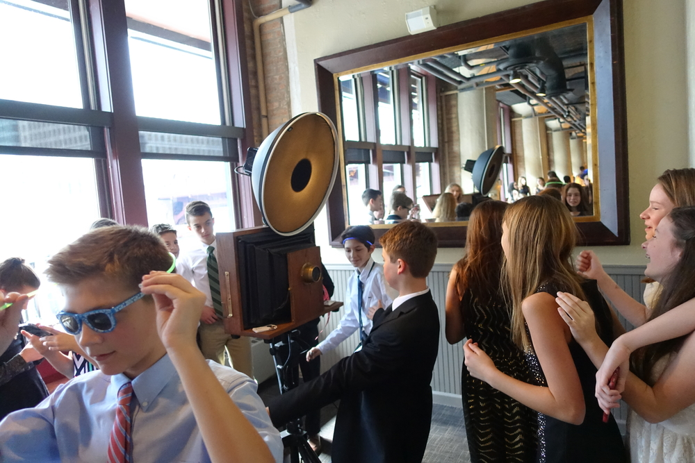 A Fotio photo booth setup Bat Mitzvah style at River Roast Chicago in the Murdoch Room.