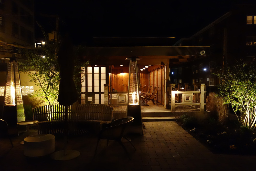 View of the Tea House at night.