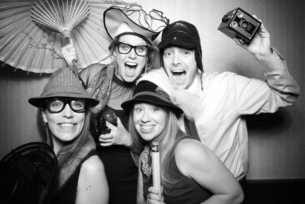 A silly photo booth pic with our vintage props taken at the Willis Tower.