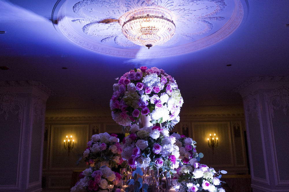 The beautiful flower centerpiece displayed during cocktail hour in the Drake Hotel's French Room!
