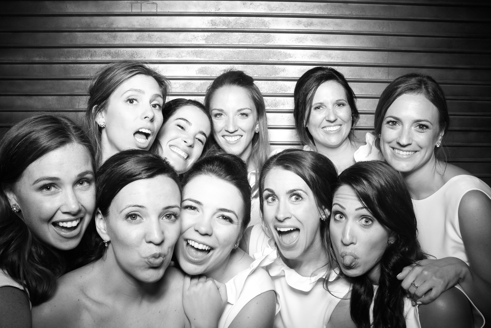 Bride having a blast with her bridesmaids at Morgan Manufacturing!
