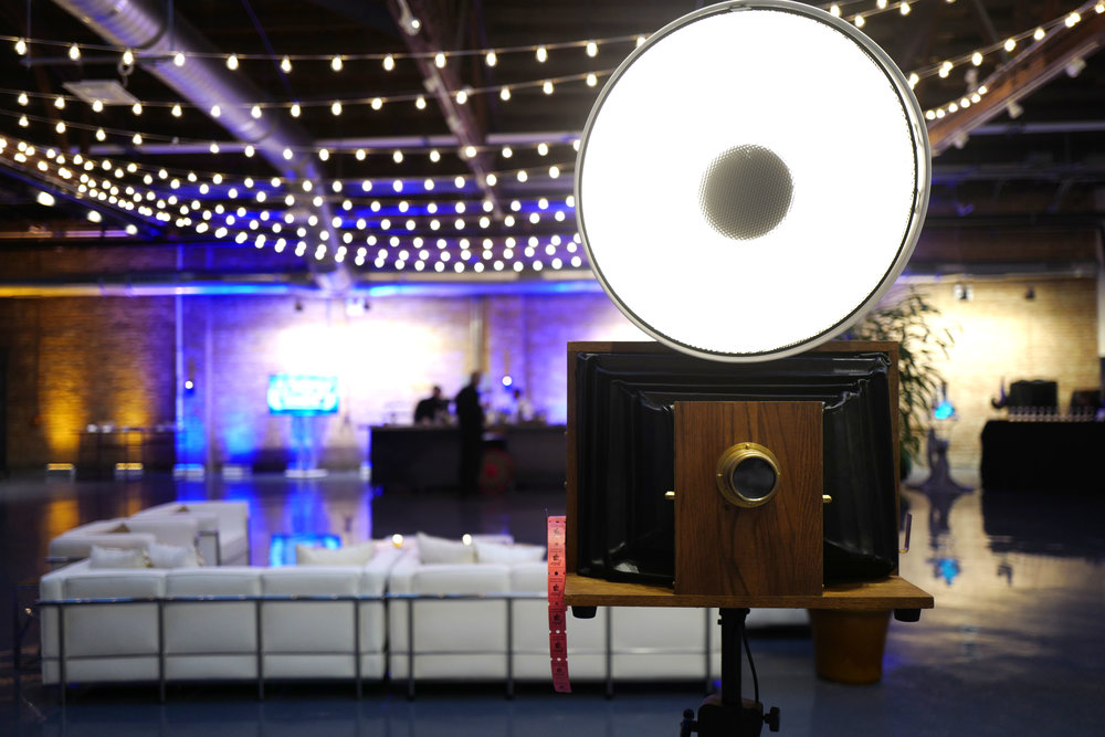 A Fotio photo booth setup at Baderbräu event space.