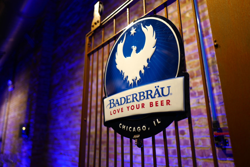 Classic Baderbrau Metal Beer Sign at the Chicago Brewery