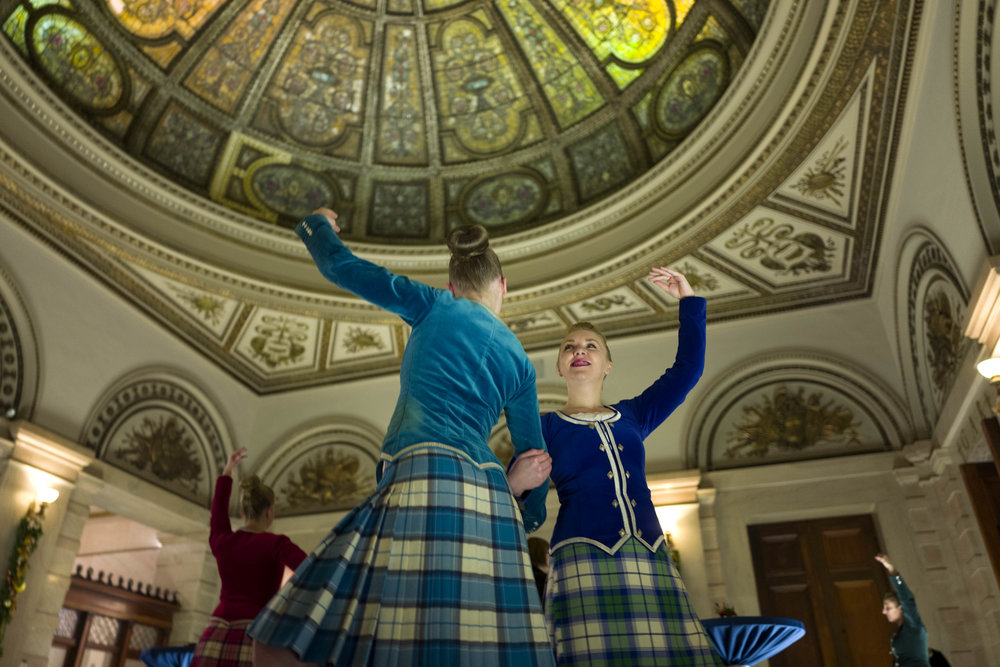 Some of the Scottish Dancers practicing in Gar Hall before guests arrive. Such a beautiful and ornate domed ceiling!