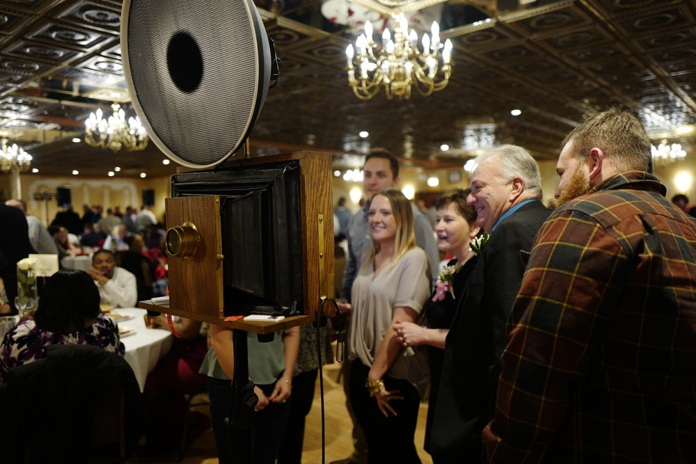 A Fotio photo booth setup at the Mayor's Mansion Banquets on Harlem in Chicago, IL.