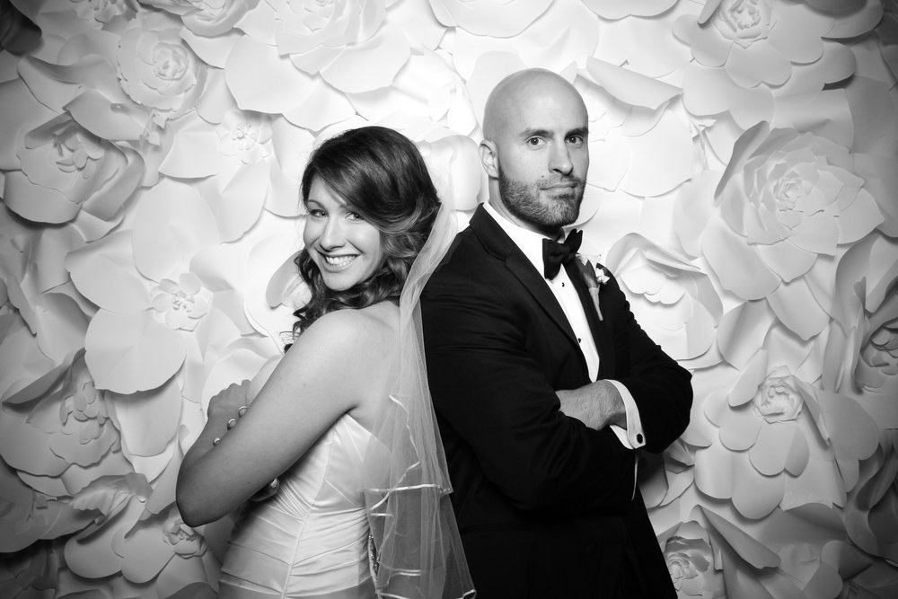 The bride and groom pose for a portrait inside the Monte Bello Estate wedding reception space!