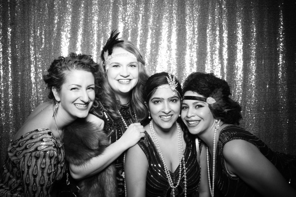 Chicago company corproate 1920s Great Gatsby themed photo booth at Salvage One Chicago with Sequin backdrop!