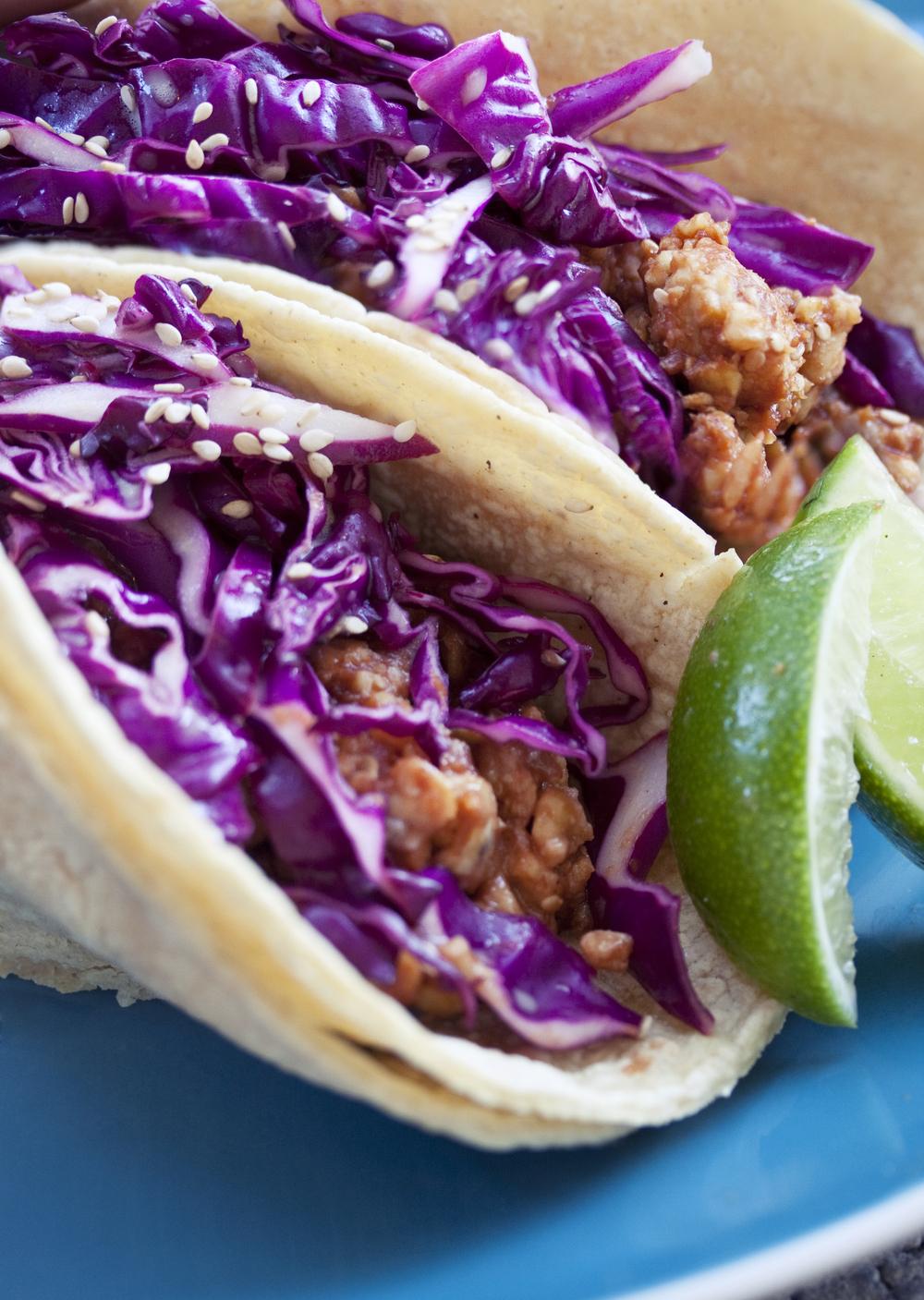 Korean Style Tempeh Tacos