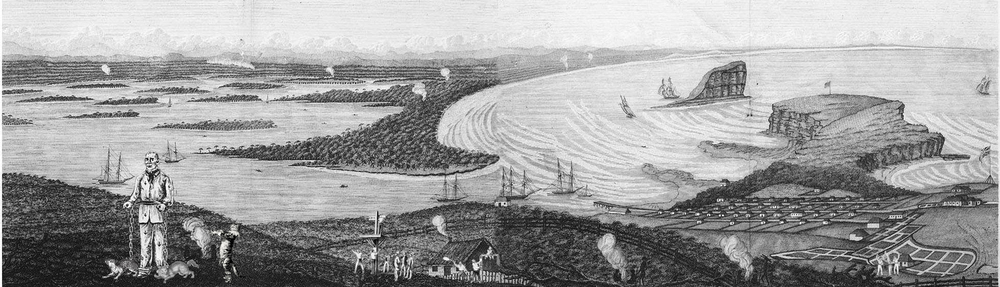 An early view of Newcastle Harbour, it's surroundings and every day goings on in the settlement.
