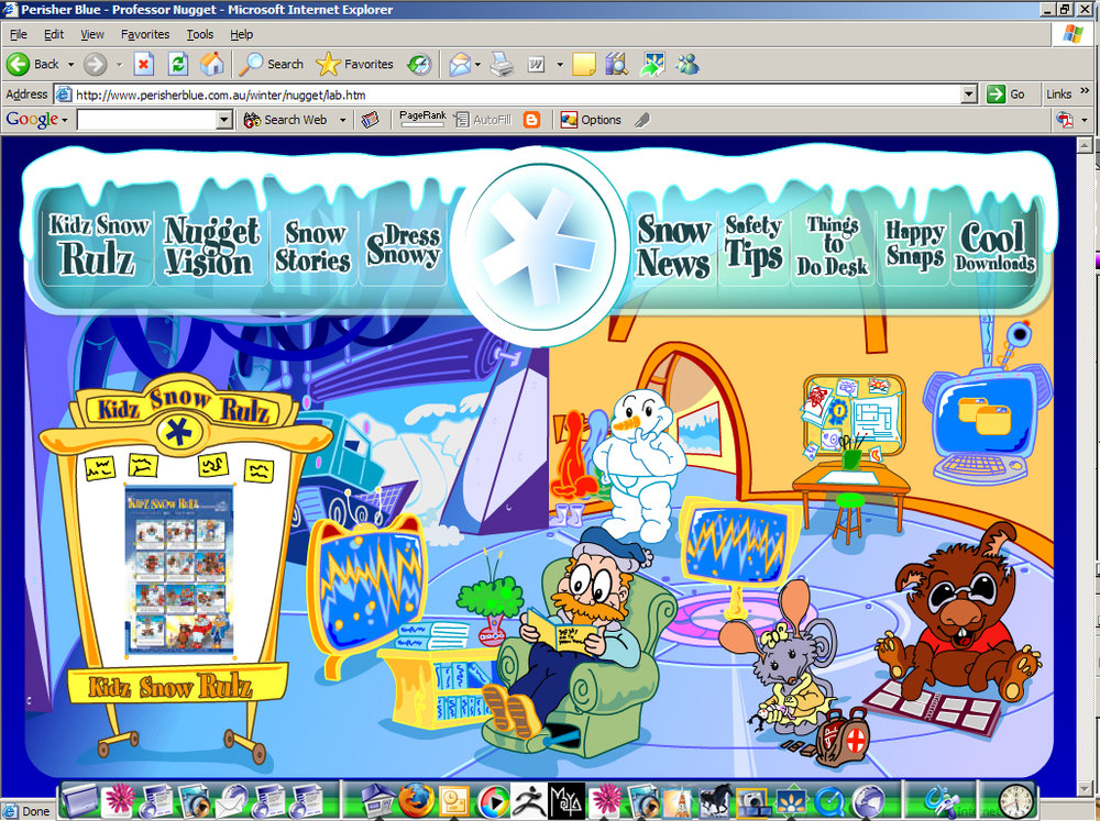 Screen capture of the Perisher website kids section. Professor Nuggets lab where we made Flash games and animations for kids to play and learn about ski saftey at the resort.