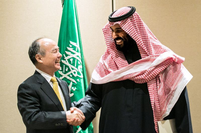 Masayoshi Son and Mohammed bin Salman.Photographer: Jeenah Moon/Bloomberg