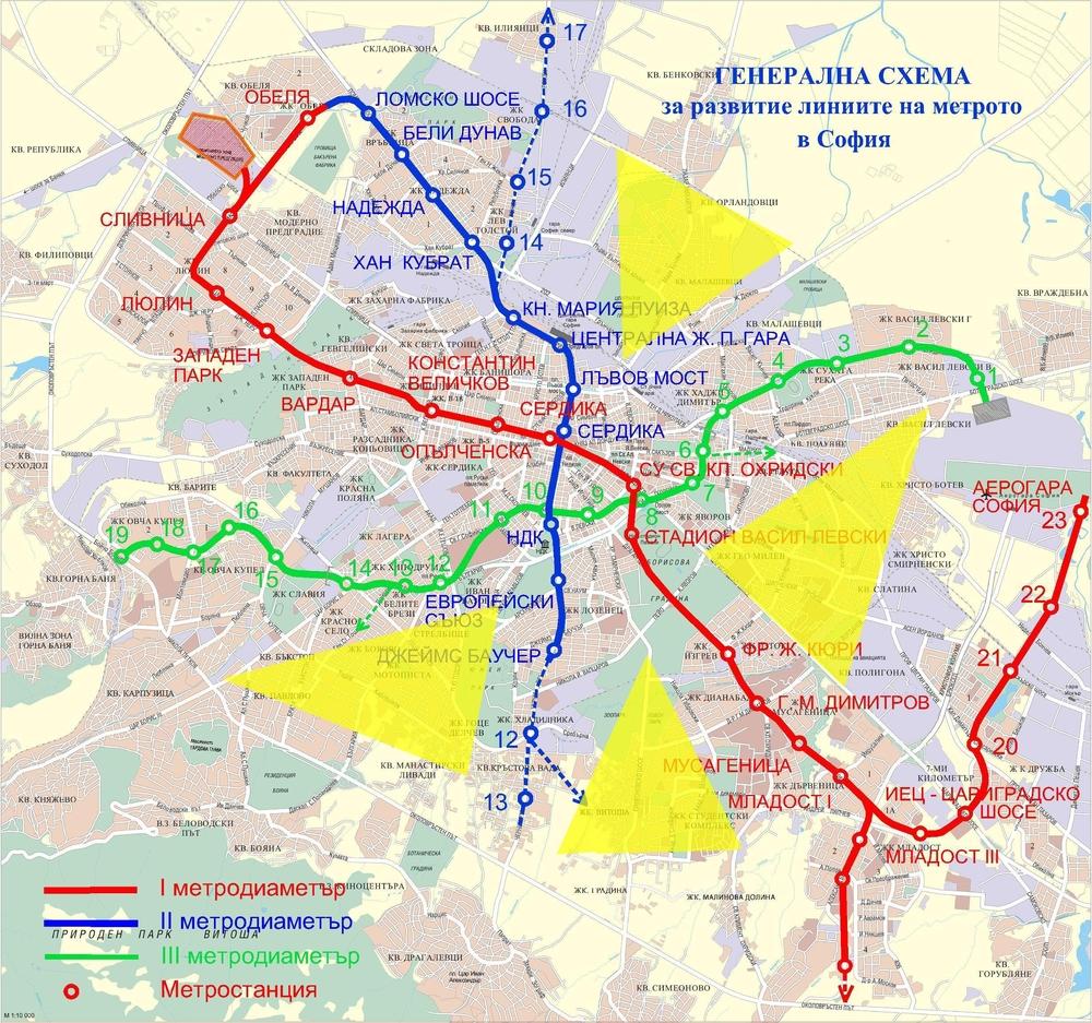 Една от схемите за развитие на Софийското метро - гъсто населени граски територии остават извън обхвата на метрото