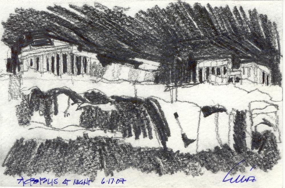 Acropolis at night-graphite