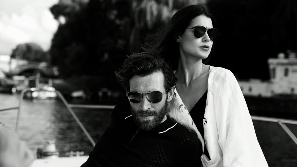 TD Tom Davies - bespoke eyewear - handmade eyeglasses and sunglasses - couple in boat