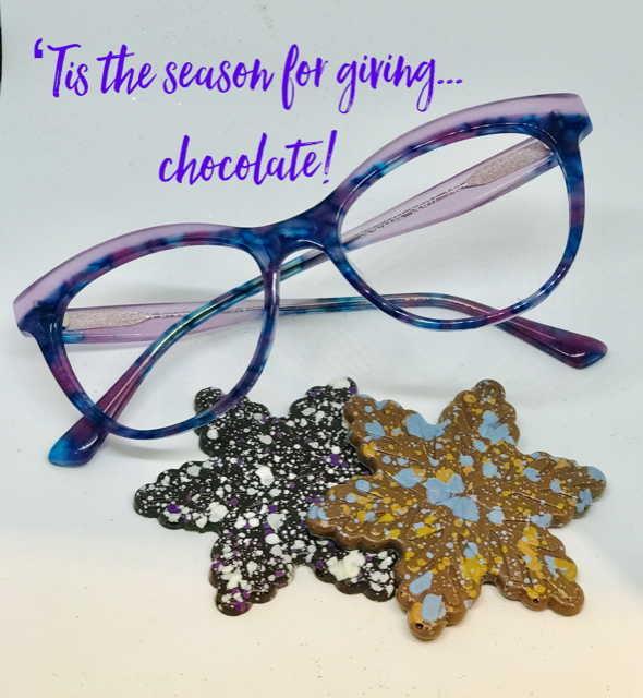 Every Client who has an Eye exam or purchases eye wear for the month of December will receive Handmade Jacek Chocolate!