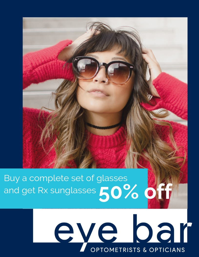 50% off prescription sunglasses - Get ready for the sun! From now until July 31st you get 50% off prescription sunglasses when you buy a complete set of glasses. *Maui Jim and Oakley sunglasses excluded from promotions