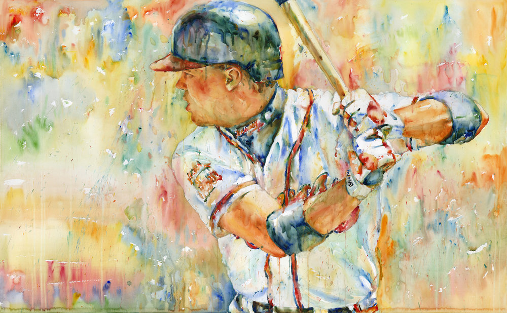 """Chipper Jones"", 2018, Watercolor on paper, 36"" x 55"""