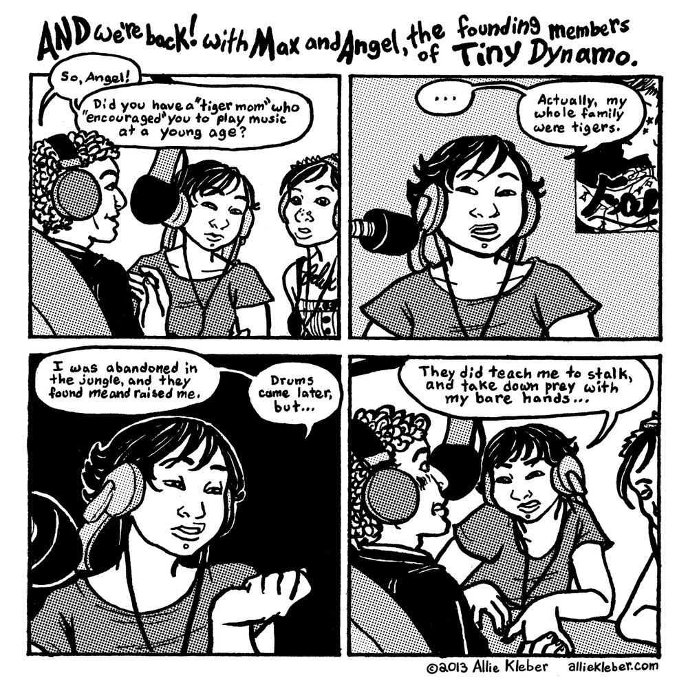Single-page comic strip, excerpted from the minicomic  Tiny Dynamo: DEMOS .